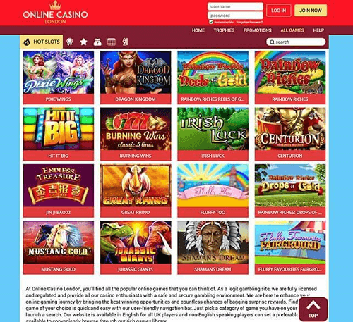 Online Casino London Games
